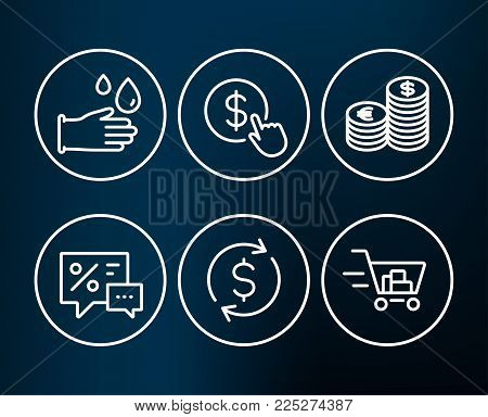 Set of Dollar exchange, Discounts and Rubber gloves icons. Currency, Buy currency and Shopping cart signs. Banking rates, Best offer, Hygiene equipment. Euro and usd, Money exchange, Online buying