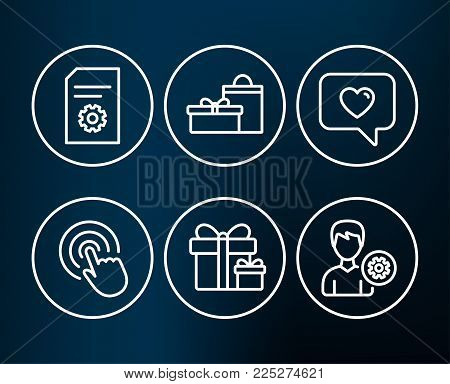 Set of Click, Surprise package and File settings icons. Love message, Gifts and Support signs. Cursor pointer, Present boxes, File management. Dating service, Birthday boxes, Edit profile. Vector