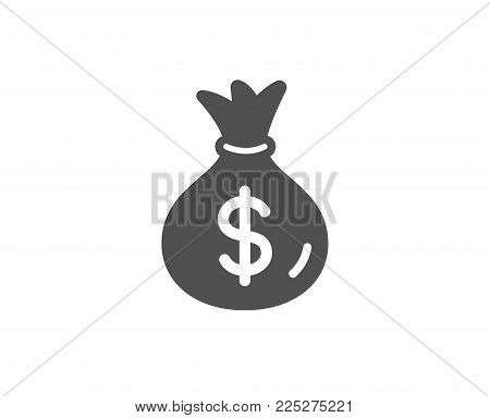 Money bag simple icon. Cash Banking currency sign. Dollar or USD symbol. Quality design elements. Classic style. Vector