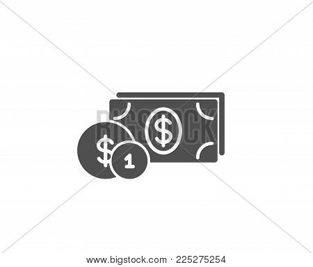 Cash money with Coins simple icon. Banking currency sign. Dollar or USD symbol. Quality design elements. Classic style. Vector