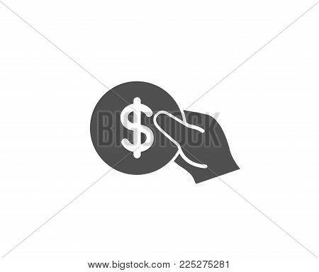 Hold Coin simple icon. Banking currency sign. Dollar or USD symbol. Quality design elements. Classic style. Vector