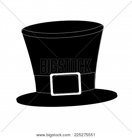 Tophat. Isolated on white background. Black silhouette cylinder. Vintage top hat. Vector illustration.