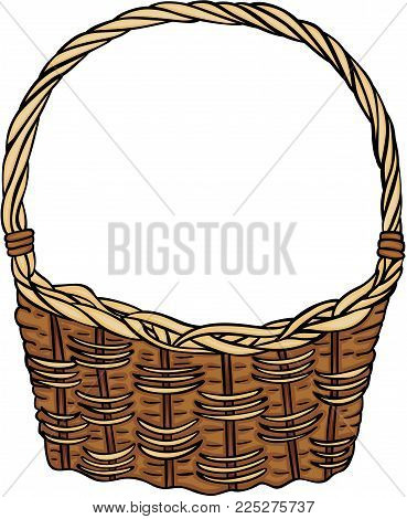 Scalable vectorial representing a wicker basket empty, illustration isolated on white background.