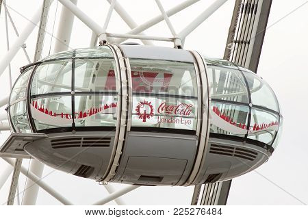 An Empty Glass Passenger Pod On The Millenium Wheel - Also Known As The London Eye.  This Is Used To