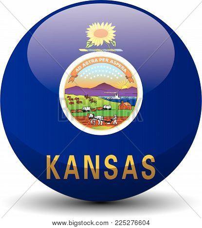 Kansas circle button flag background texture. Vector illustration.
