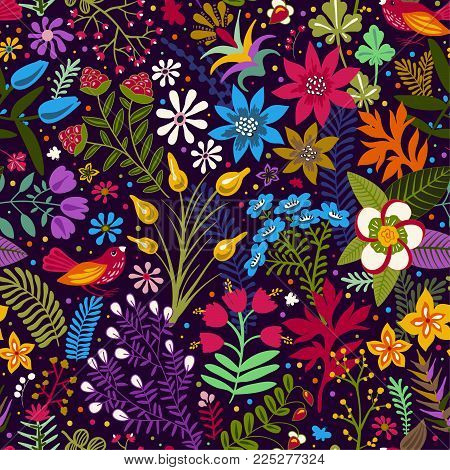 Vector seamless pattern with stylized flowers and plants. Bright botanical wallpaper. Many flowers on the dark backdrop