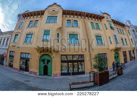 ORADEA, ROMANIA - JANUARY 27, 2018: Facade of Stern Palace, historical building in Oradea, Romania. Was built between 1904-1906 with project designed by architects Komor Marcell and Jakab Dezso.