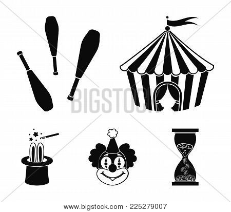 Circus tent, juggler maces, clown, magician's hat.Circus set collection icons in black style vector symbol stock illustration .
