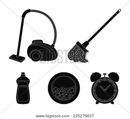 A mop with a handle for washing floors, a green vacuum cleaner, a window of a washing machine with water and foam, a bottle with a cleaning agent. Cleaning set collection icons in black style vector symbol stock illustration .