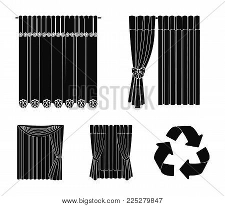 Curtains, drapes, garters, and other  icon in black style. Textiles, furniture, bow icons in set collection.