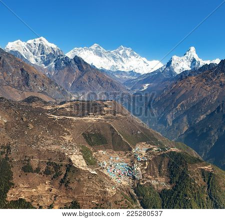 view of Mount Everest, Lhotse, Ama Dablam and Namche Bazar from Kongde - Sagarmatha national park - Nepal