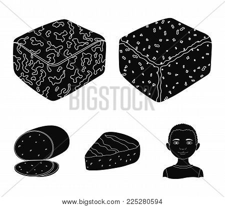 Brynza, smoked, colby jack, pepper jack.Different types of cheese set collection icons in black style vector symbol stock illustration .