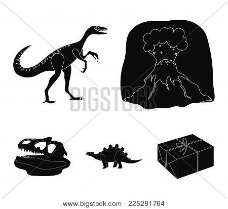 Volcanic eruption, gallimimus, stegosaurus, dinosaur skull. Dinosaur and prehistoric period set collection icons in black style vector symbol stock illustration .