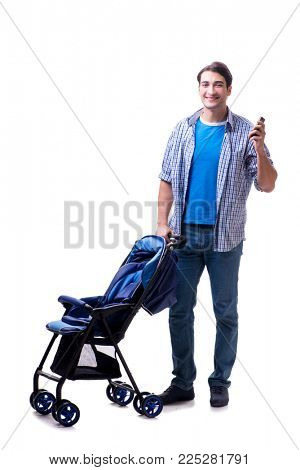 Young dad with baby pram isolated on white