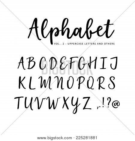 Hand drawn vector alphabet. Brush script font. Isolated upper case letters written with marker, ink, calligraphy, lettering.