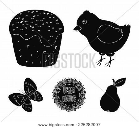 Easter cake, chicken, butterfly and greeting sign.Easter set collection icons in black style vector symbol stock illustration .