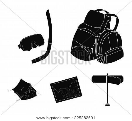 Travel, vacation, backpack, luggage .Family holiday set collection icons in black style vector symbol stock illustration .
