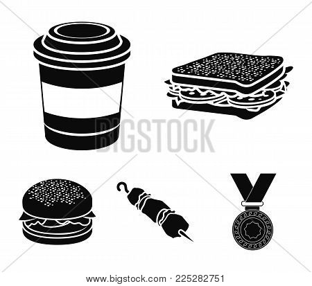 Sandwich, coffee, shish kebab, burger.Fast food set collection icons in black style vector symbol stock illustration .