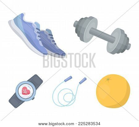 Dumbbell, rope and other equipment for training.Gym and workout set collection icons in cartoon style vector symbol stock illustration .