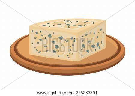 Vector gorgonzola, Italian blue cheese on wooden plate, made from unskimmed cow's milk. Made in cartoon flat style for internet, design