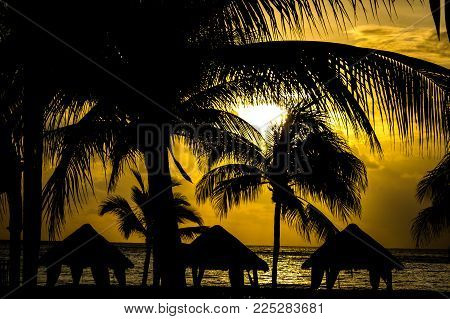 Warm sunrise with palm trees and palapas in the foreground. Riviera Maya, Mexico