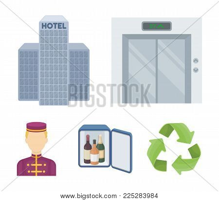 Elevator car, mini bar, staff, building.Hotel set collection icons in cartoon style vector symbol stock illustration web.