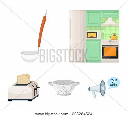Kitchen equipment cartoon icons in set collection for design. Kitchen and accessories vector symbol stock  illustration.