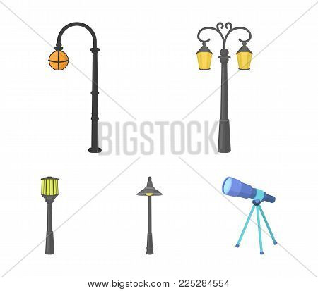Lamppost in retro style , modern lantern, torch and other types of streetlights. Lamppost set collection icons in cartoon style vector symbol stock illustration .