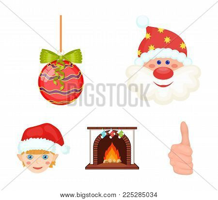 Santa Claus, dwarf, fireplace and decoration cartoon icons in set collection for design. Christmas vector symbol stock  illustration.