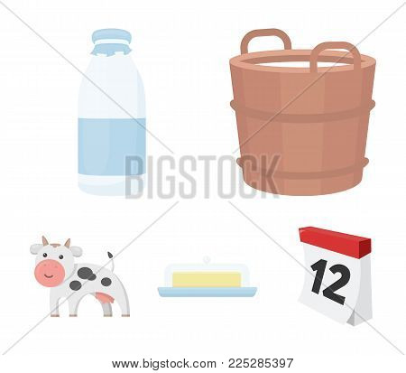 A barrel of milk, butter, a cow. Milk set collection icons in cartoon style vector symbol stock illustration .