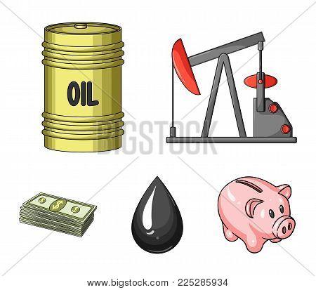 Pump, barrel, drop, petrodollars. Oil set collection icons in cartoon style vector symbol stock illustration .