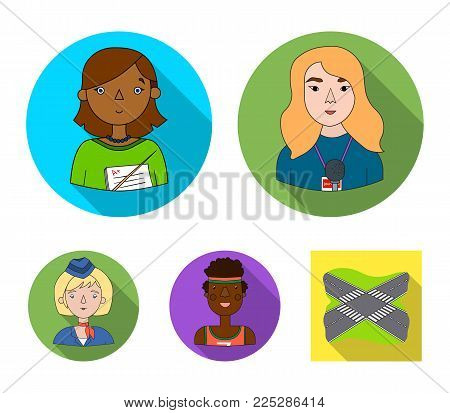 A journalist with a microphone with a badge, a teacher with a pointer in beads, a stewardess in a pilot's cap, an athlete with a bandage on her head.People of different professions set collection icons in flat style vector symbol stock illustration web.