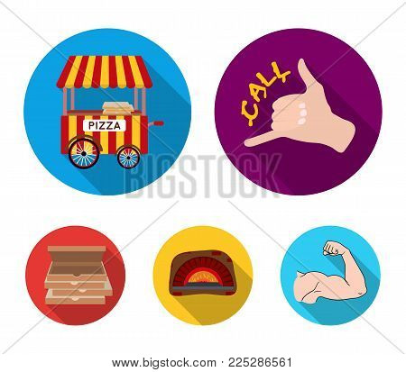 Order pizza gesture, box for pizza, oven, trailer. Pizza and pizzeria set collection icons in flat style vector symbol stock illustration web.