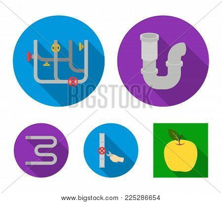 A siphon, a towel warmer and other equipment.Plumbing set collection icons in flat style vector symbol stock illustration .
