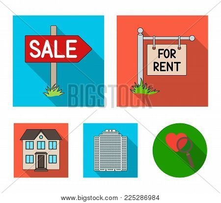 Signs of sale and rent, a skyscraper, a two-story cottage.Realtor set collection icons in flat style vector symbol stock illustration .