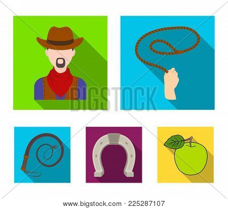 Hand lasso, cowboy, horseshoe, whip. Rodeo set collection icons in flat style vector symbol stock illustration .
