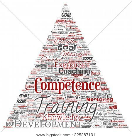 Conceptual training, coaching or learning, study triangle arrow word cloud isolated on background. Collage of mentoring, development, motivation skills, career, potential goals or competence