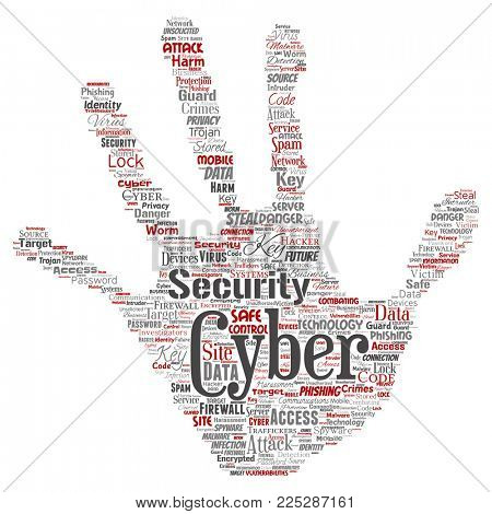 Conceptual cyber security online access technology hand print stamp word cloud isolated background. Collage of phishing, key virus, data attack, crime, firewall password, harm, spam protection