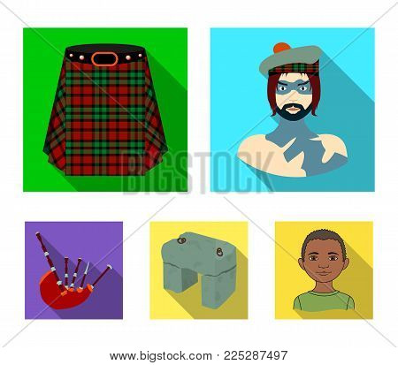 Highlander, Scottish Viking, tartan, kilt, scottish skirt, scone stone, national musical instrument of bagpipes. Scotland set collection icons in flat style vector symbol stock illustration web.