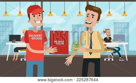 Payment for delivery food. Businessman giving money to courier.
