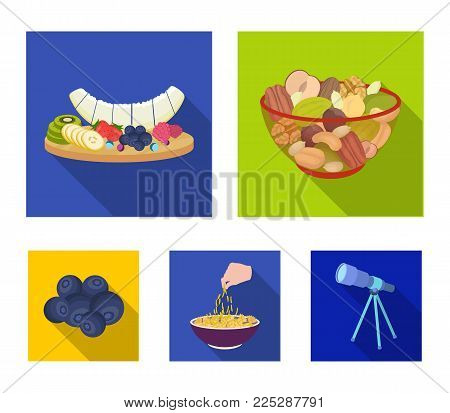 Assorted nuts, fruits and other food. Food set collection icons in flat style vector symbol stock illustration .