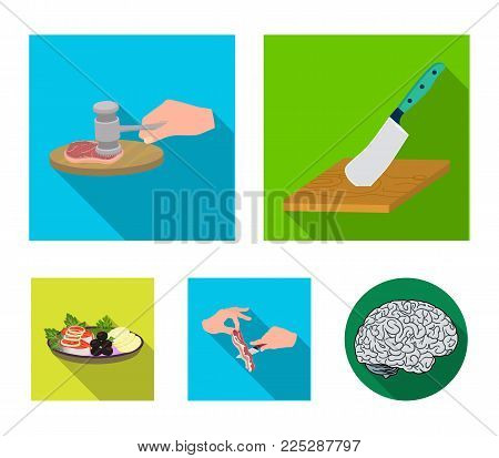 Cutlass on a cutting board, hammer for chops, cooking bacon, eating fish and vegetables. Eating and cooking set collection icons in flat style vector symbol stock illustration .