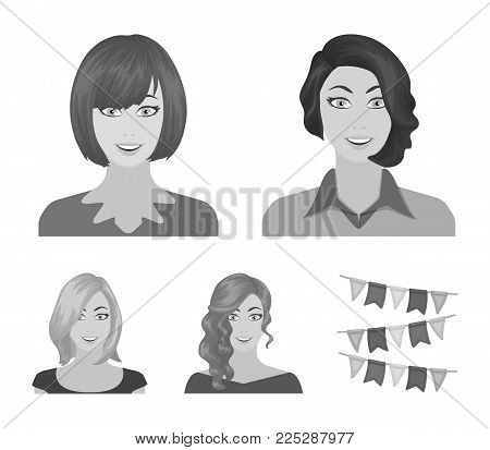 The appearance of a woman with a hairdo, the face of a girl. Face and appearance set collection icons in monochrome style vector symbol stock illustration . poster
