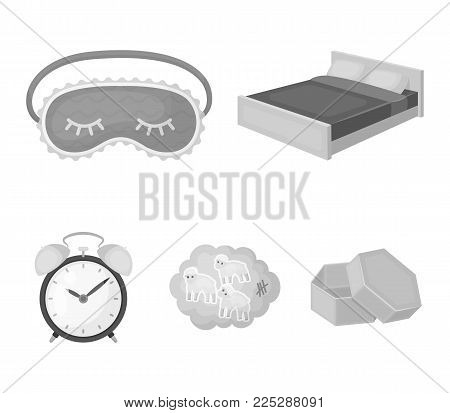 A bed, a blindfold, counting rams, an alarm clock. Rest and sleep set collection icons in monochrome style vector symbol stock illustration .
