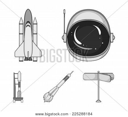 A spaceship in space, a cargo shuttle, A launch pad, an astronaut's helmet. Space technology set collection icons in monochrome style vector symbol stock illustration .