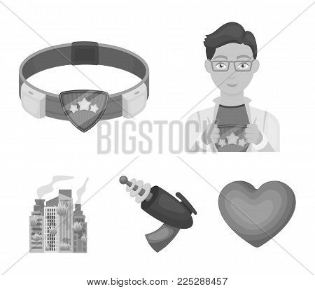Man, young, glasses, and other  icon in monochrome style. Superman, belt, gun icons in set collection.