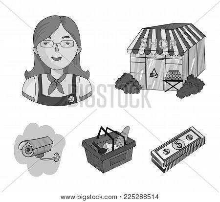 Salesman, woman, basket, plastic .Supermarket set collection icons in monochrome style vector symbol stock illustration .