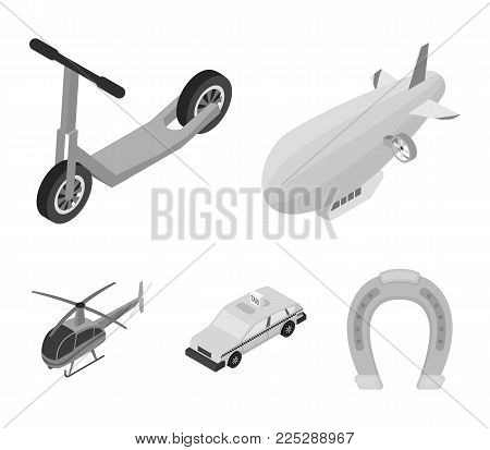 A dirigible, a children's scooter, a taxi, a helicopter.Transport set collection icons in monochrome style vector symbol stock illustration .