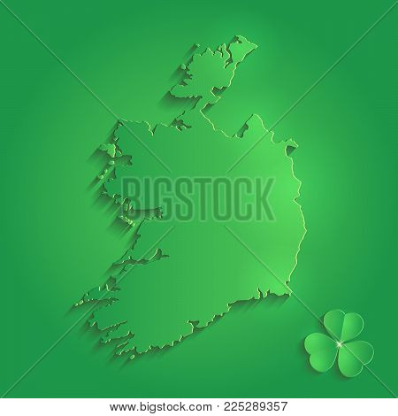 Ireland map green  St. Patrick Day shamrock 3D vector