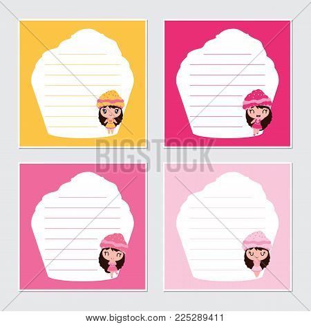 Cute cupcake girls on colorful frame vector cartoon illustration for Birthday memo paper design, stationery and planner sticker